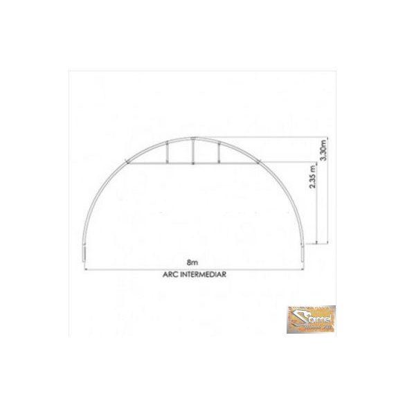 Set alagút rendszerű fóliasátor 8x50m, szimpla fóliás, fóliafeltekerős oldalszellőző rendszerrel