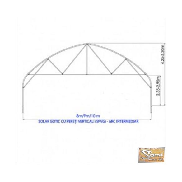Set függőleges oldalfalú gótikus fóliasátor 10x40m, dupla felfújt fóliás borítással