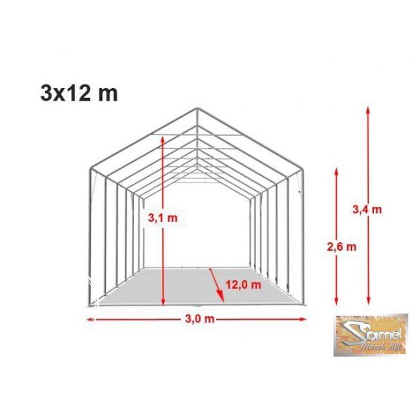 Profi professional 3x12 m, +2,6 m rendezvénysátor 550g/m2, fehér színben