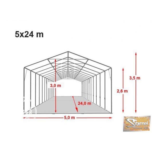 Profi professional rendezvénysátor 5x24 m, fehér +2,6 m