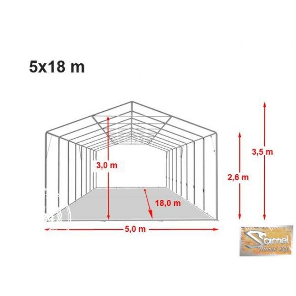 Profi  professzionális raktársátor 5x18 m,  2,6 m A típusú