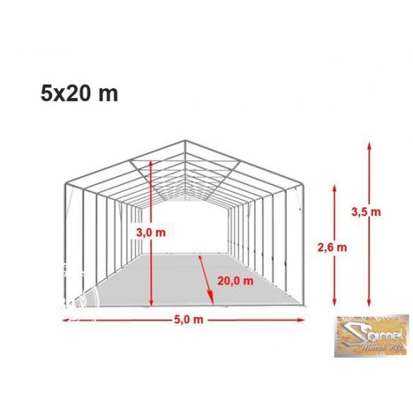 Profi professzionális raktársátor 5x20 m,  2,6 m A típusú