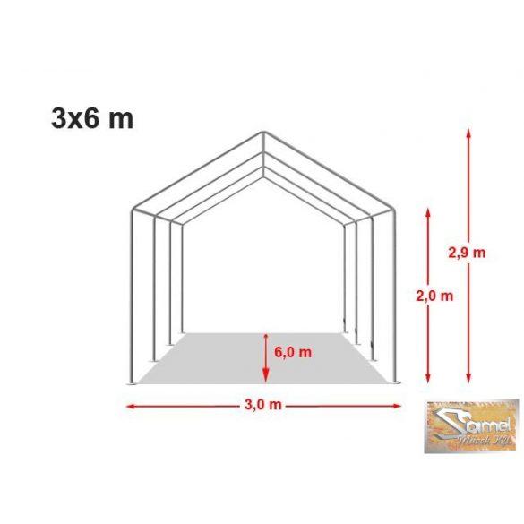Profi professional 3x6 m, +2 m rendezvénysátor 550g/m2, fehér színben
