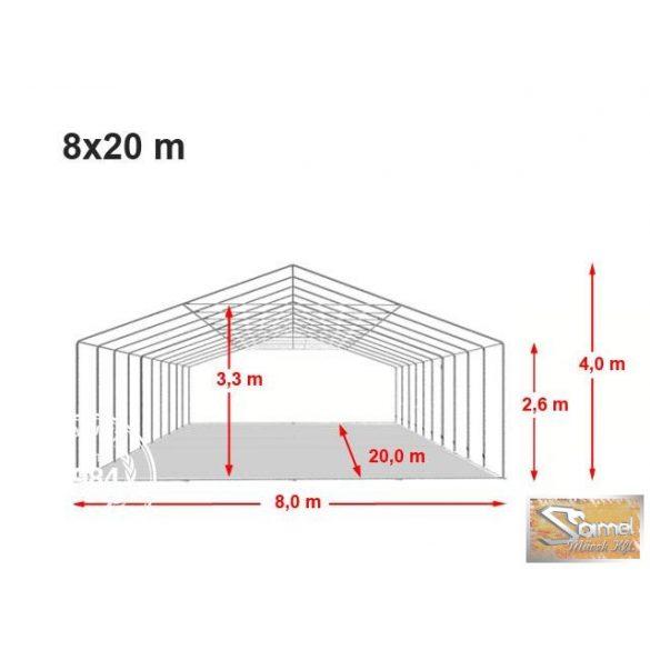 Profi professional rendezvénysátor 8x20 m +2,6 m