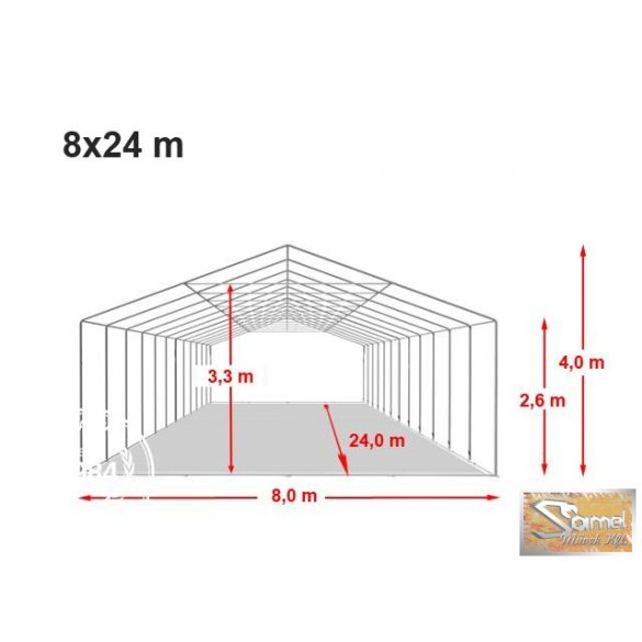 Profi professional rendezvénysátor 8x24 m +2,6 m