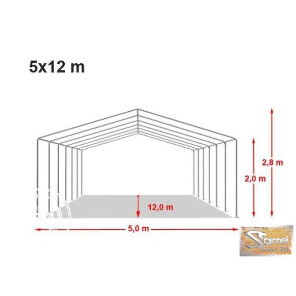 Profi professional 5x12 m, +2 m rendezvénysátor 550g/m2, fehér színben