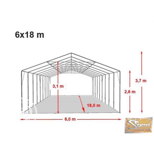Profi professional rendezvénysátor 6x18 m +2,6m, fehér