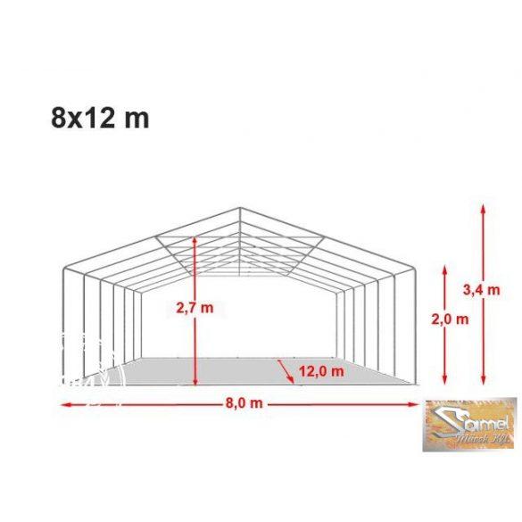 Profi prémium 8x12 m rendezvénysátor PVC 500g/m2, fehér színben, tűzálló