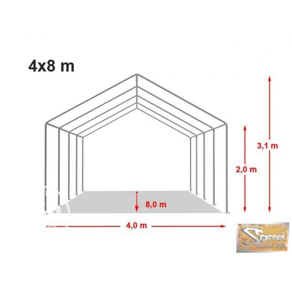 Profi prémium 4x8 m rendezvénysátor PVC 500g/m2, fehér színben