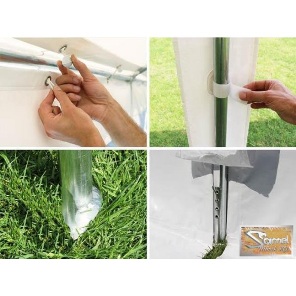 Profi prémium 3x8 m rendezvénysátor PVC 500g/m2, fehér színben