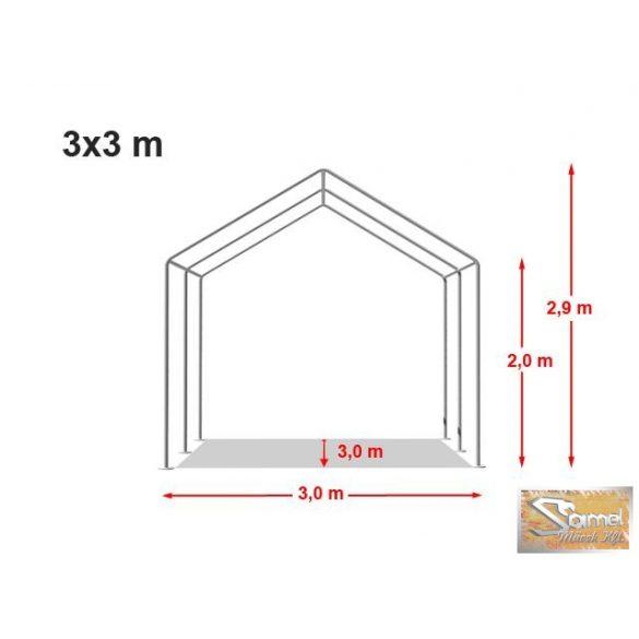 Profi prémium 3x3 m rendezvénysátor PVC 500g/m2, több színben