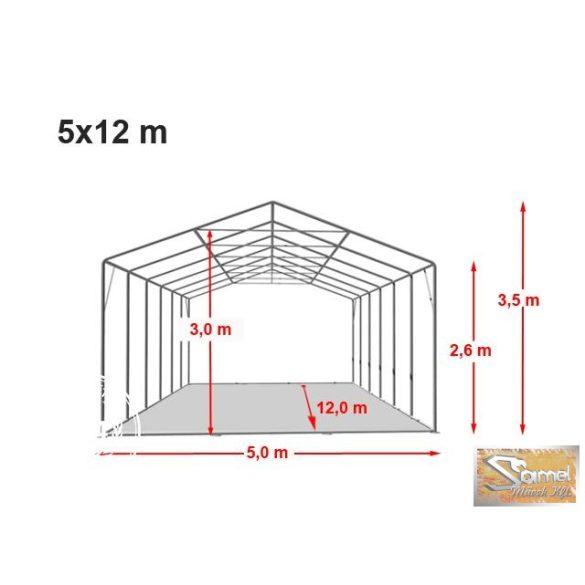 Profi professional rendezvénysátor 5x12 m fehér +2,6 m