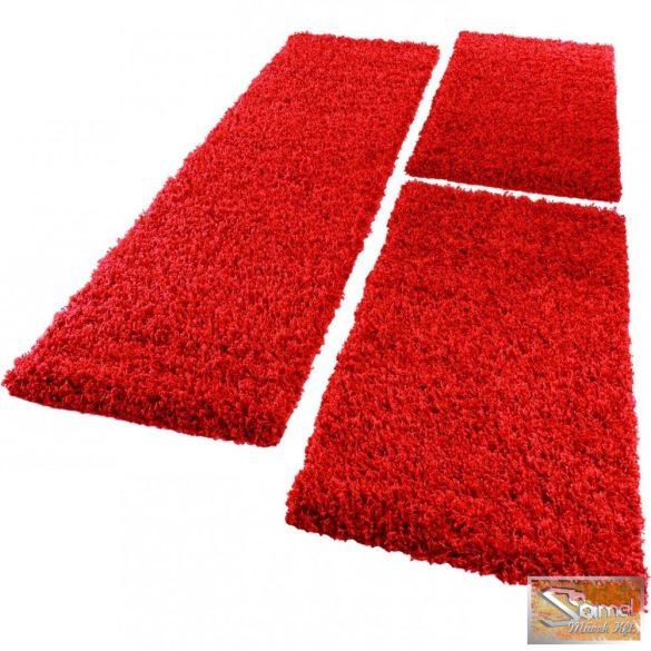 3 részes futószőnyeg, hosszú bolyhos, barna és piros színben