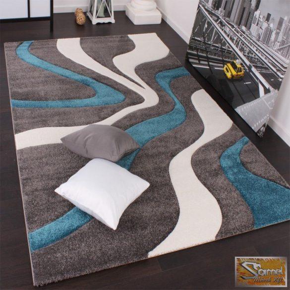 Designer szőnyeg, kontúrokkal, hullám türkiz-szürke-fehér