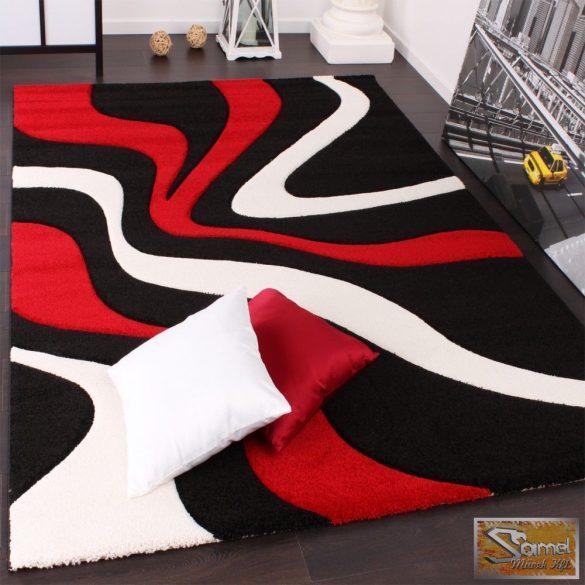 Designer szőnyeg hullámokkal, piros-fekete