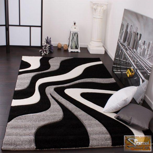 Designer szőnyeg, kontúrokkal, hullám fekete-szürke-fehér