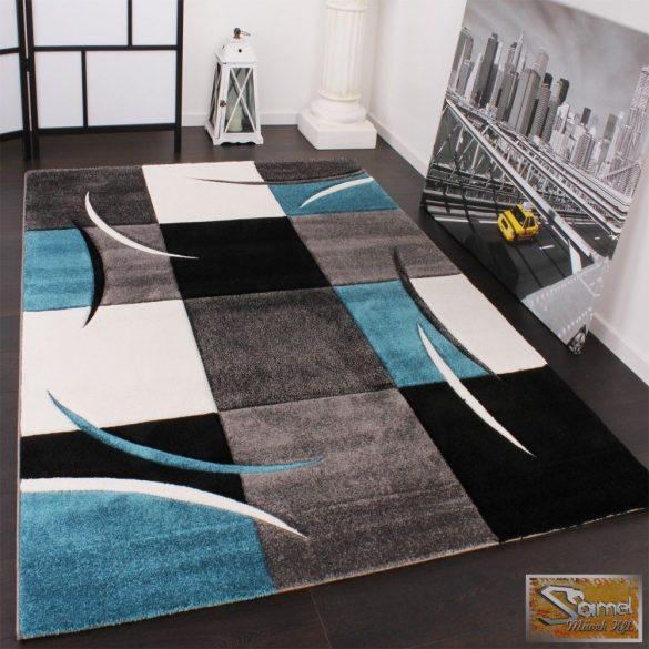 Designer szőnyeg kontúrvonalakkal, szürke-türkiz