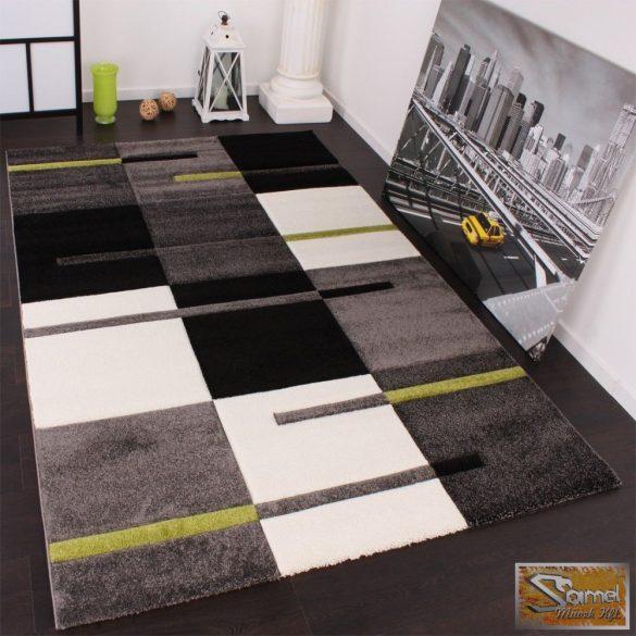 Designer szőnyeg, négyzetes, zöld-szürke-fekete