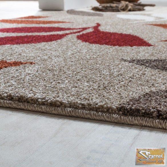 Terracotta szőnyeg, levélmintás, piros-bézs