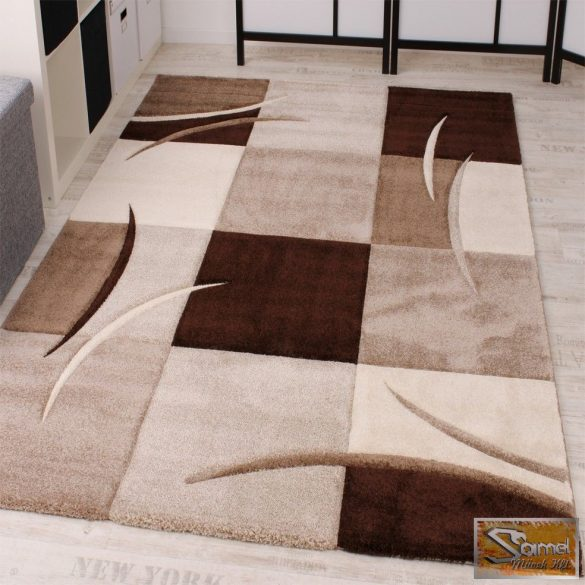 Designer szőnyeg kontúrokkal, barna-bézs