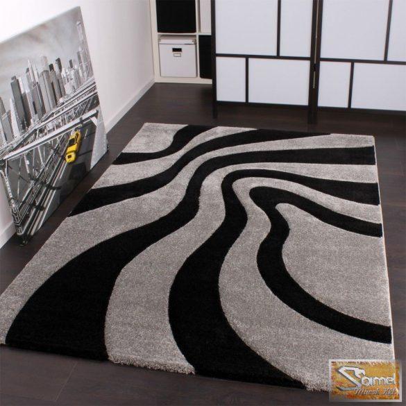 Designer szőnyeg hullámos, ezüst-fekete