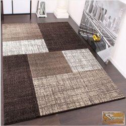 Designer szőnyeg, rövid bolyhos, négyzetes, barna