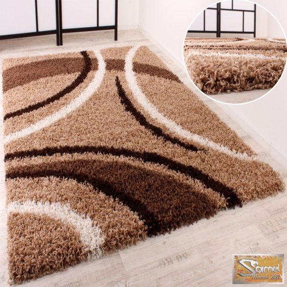 Shaggy szőnyeg hosszú bolyhos, mintás barna-bézs-krém