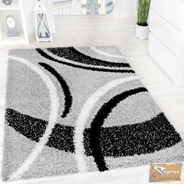 Shaggy szőnyeg kontúrokkal, fekete-fehér-szürke 30 mm