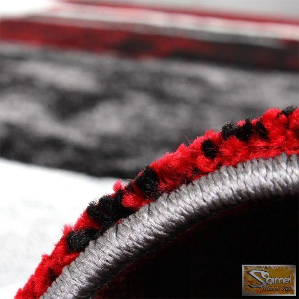 Szőnyeg absztrakt vonalakkal, szürke-fekete-piros