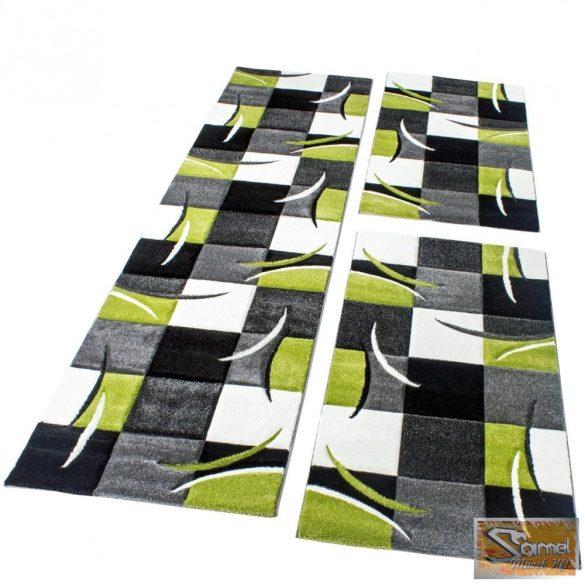 3 részes futószőnyeg kontúrokkal, zöld és fekete színben