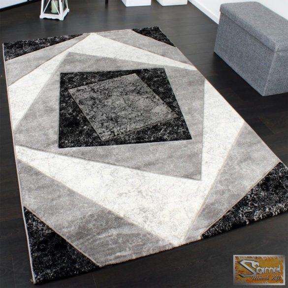 Eltolt négyzetes szőnyeg, szürke-fekete-krém