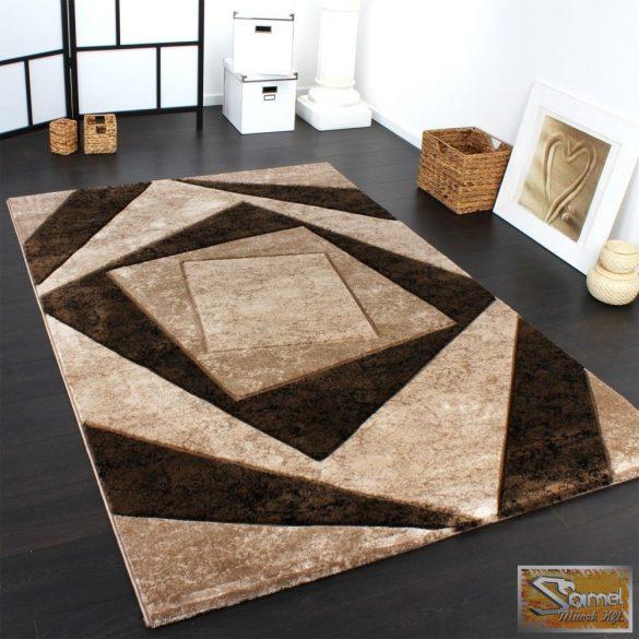 Designer szőnyeg, absztrakt mintával, barna-bézs