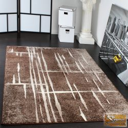 Designer szőnyeg barna-bézs, fehér csíkkal