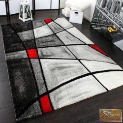 Designer szőnyeg absztrakt, vonalakkal, piros-szürke