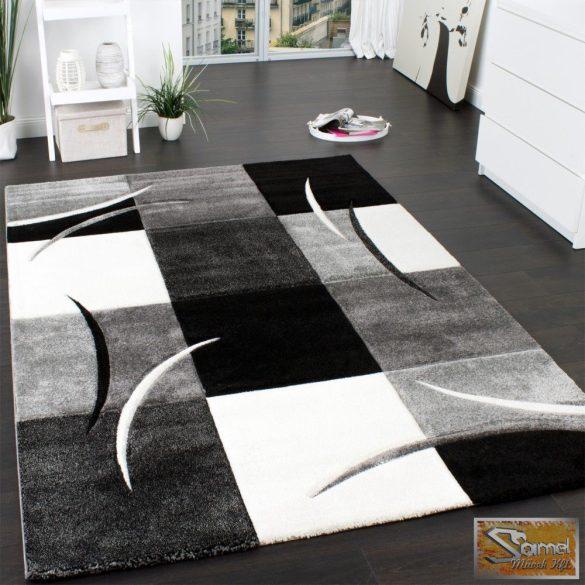 Designer szőnyeg kontúrokkal, szürke-fekete