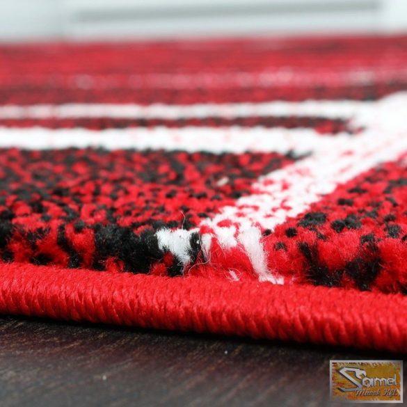 Designer szőnyeg piros, krém csíkokkal