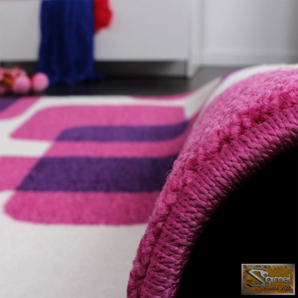 Gyerekszőnyeg retro, lila-rózsaszín-krém