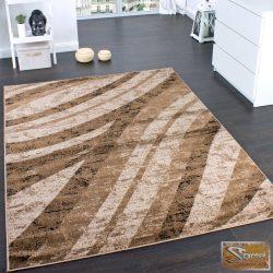 Modern szőnyeg hullámokkal, barna-bézs