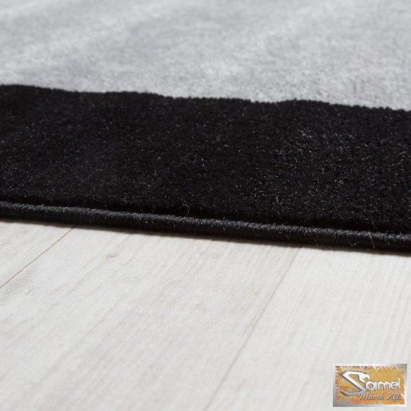 Modern szőnyeg keretmintás, fekete-szürke-krém