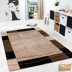 Designer szőnyeg keretmintával, barna- bézs