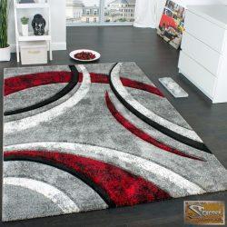 Designer szőnyeg kontúrokkal, szürke-fekete-piros