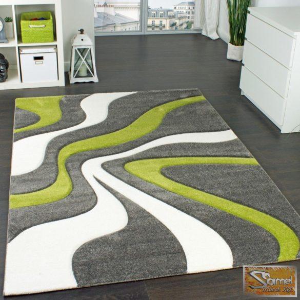 Designer szőnyeg, kontúrokkal, hullám zöld-szürke-krém