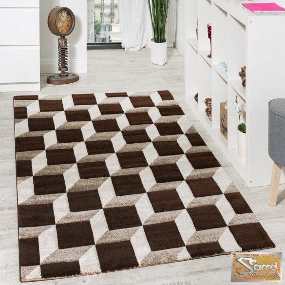 Kockás szőnyeg, barna-krém