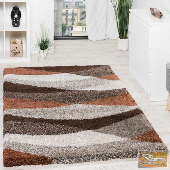 Shaggy szőnyeg hosszú bolyhos, hullámos, barna-bézs
