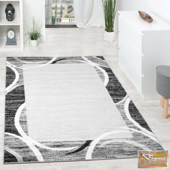 Nappali szőnyeg, szürke-fekete-krém színekkel, keretmintával