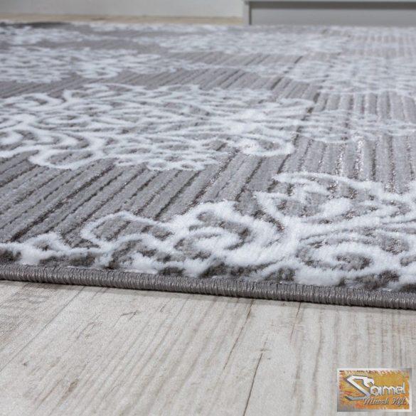 Designer szőnyeg szürke, klasszikus fehér mintával