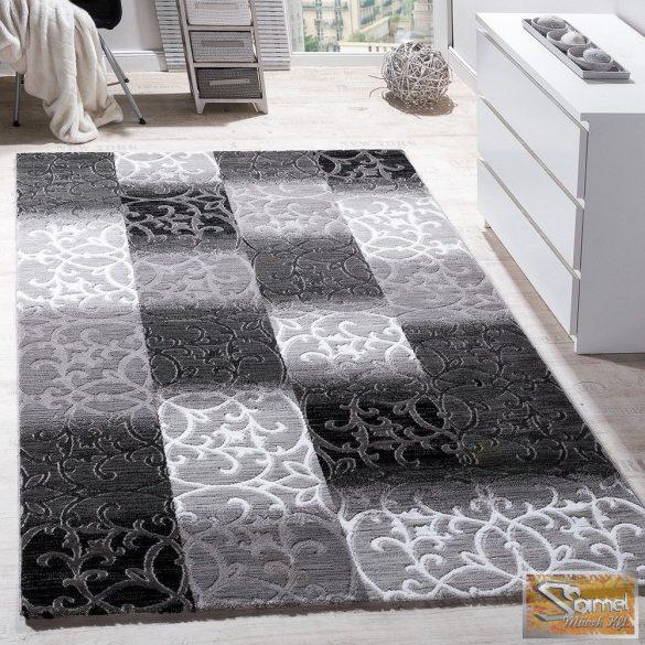 Designer szőnyeg, négyzetes, díszes, szürke