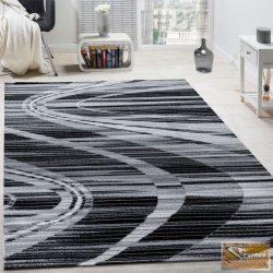 Designer szőnyeg ívelt vonalakkal, szürke-krém-fekete