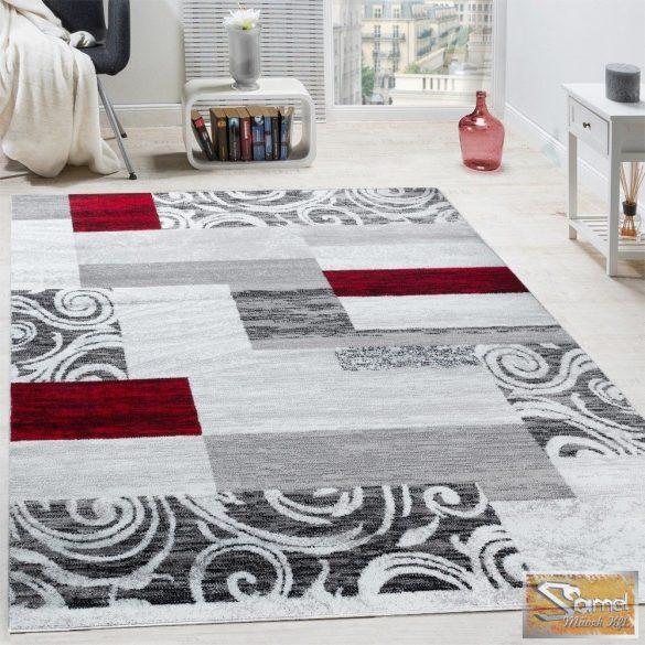 Designer szőnyeg szürke-piros mintával