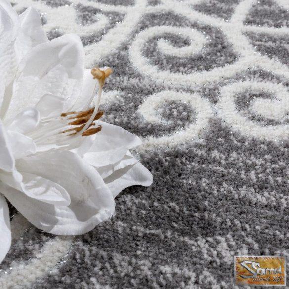 Designer szőnyeg virágmintával, szürke